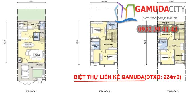 Hình ảnh sơ đồ mặt bằng tầng biệt thự liền kề Gamuda Gardens